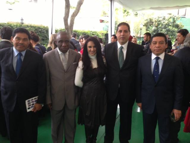 His Excellency Ambassador to Ivory Coast and Panama in Mexico with people of Interior and crime prevention in presenting Optucorp for Europe.