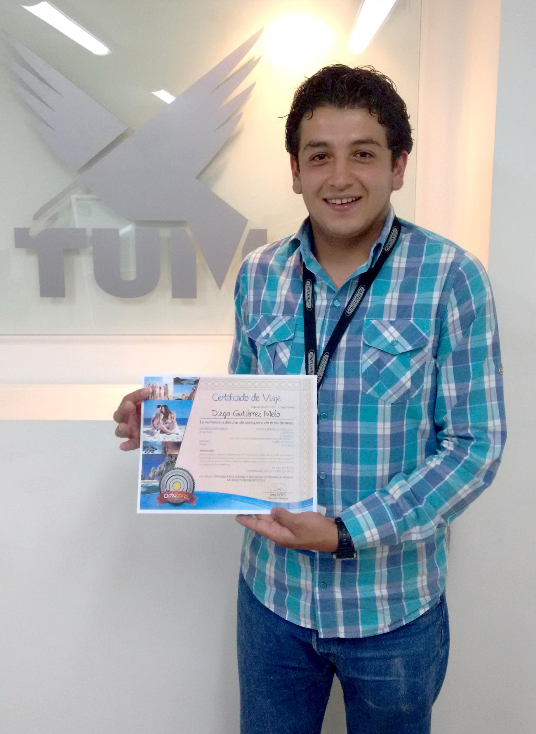 Diego Gutiérrez, ganador de paquete vacacional a cualquier parte de México